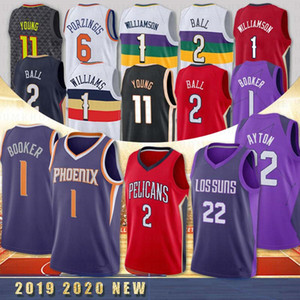 NCAA 1 صهيون ويليامسون 1 ديفين بوكر 11 TRAE الشباب 2 Lonzo الكرة كلية كرة السلة جيرسي نيو اورليانز البجع اتلانتا هوكس 22 DeAndre آيتون فينيكس صنز 2020 حار جديد
