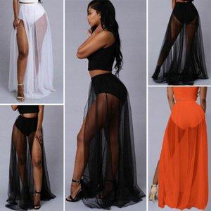 Women Chiffon Long Maxi Skirt High Waist Summer Pleated Boho Beach Skirt Dress