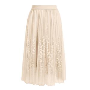 Donne Unica pannello esterno di estate tridimensionale ricamo maglia foglia filato lungo Gonna donna Jupe Femme faldas Mujer Moda 2019