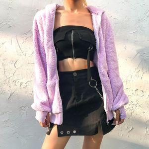 Meihuida Herbst Women Casual Double-Sided-Plüsch-weiches Fleece Lila Reißverschluss-Mantel warme Jacken