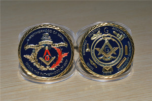 The sample order,Free Shipping 1pcs lot,Masonic, Freemasonry, Square, Compasses, Masonic Lodge, Gold-Plated Coin