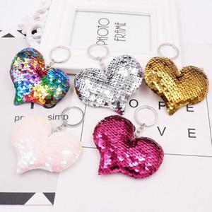 MOQ: Forma 30PCS Moda Portachiavi Paillettes Cuore ragazze Bag Tatuaggi chiave pendente dell'anello per l'automobile Ornamento