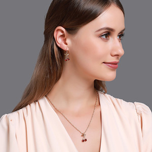 Earring Necklace Jewelry sets cherry leaf shape pendant red crystal setting gold color plated metal chain fro wedding Party