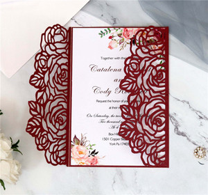 Creativo Rose Laser Cut Wedding Invitation card fai da te Shiny Inviti di nozze per Quinceanera di compleanno dolce Inviti