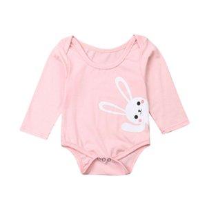 Resorte del algodón de los bebés recién nacidos Boy Body Ropa conejito Imprimir manga larga Pascua Mono Mono Trajes Blanco Azul