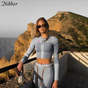adet setleri womens 2two Nibber siyah Patchwork eğlence spor Y200110 Aktif takım elbise koşu elastik sıska tozluk mahsul tepelerini yazdırmak