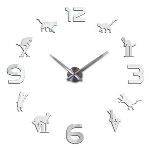NewHot mirror acrylic material wall clock modern style wall quartz clocks modern home decoration living room stickers