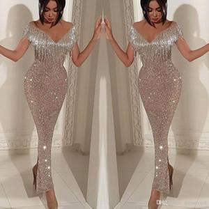 2020 borlas atractivas del hombro de la sirena vestidos de noche con lentejuelas Prom Vestidos altura del tobillo trompeta vestidos formales BC0474