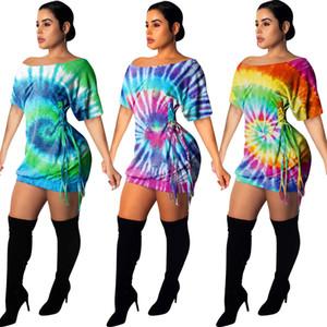 2020 delle donne da estate floreale tunica Dress Multi stampa tie-dye laterale Lace-up Papillon manica corta Slash collo casuale Viola Verde