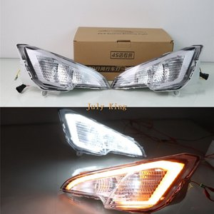 July King LED Fog Lamp Case for Ford EcoSport 2018+, LED Front Bumper Daytime Running Light DRL With Yellow Turn Signals Light