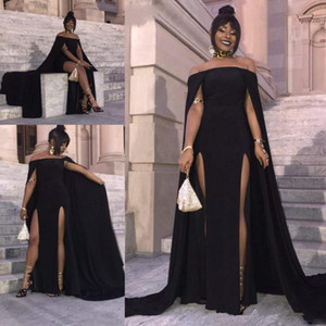 Black Cape Style Evening Dresses South African High Split Prom Dresses Chiffon Sweep Train Formal Party Dress Cheap Formal Wear