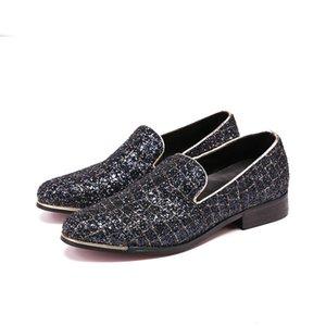 SOIRÉE Glitter hommes chaussures habillées homme de bal Paty Plaid sequin hommes Mocassins Mode fumeurs Chaussons Slip-on Flats Male