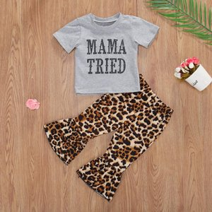 Emmababy 2Pcs 0-3Y Baby Girls Clothes Set Summer Short Sleeve mama Tried Top + leopard Flared Trousers Infant Girl Outfits Set