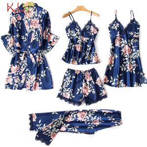 5 Parça Kadın Pijama Setleri Saten Pijama Ipek Kıyafeti Pijama Femme Dantel Çiçek Baskı Lingerie Sleep Lounge Pijama 2020 19dc Y200425