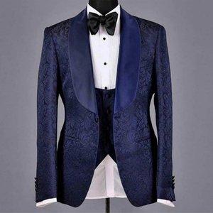 Navy Blue Floral Wedding Suits for Groomsmen 3 piece Custom Boyfriend Tuxedo Slim fit Man Suit Set Jacket Vest with Black Pants