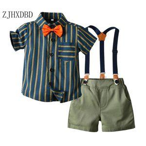 Baby Boys Child Kids Sets 2 Pieces 2020 Children's Retro Striped Bow Tie Shirt Boy Strap Short Two-piece Set Children's Clothing