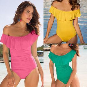 Womens One Piece solide maillot de bain de bain monokini Push Up bikini rembourré quatre style