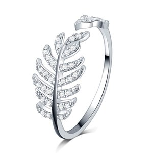 Real Silver Womens Diamond Ring with leaf feather Fit Pandora Style Charm 925 Sterling Silver Ring Valentine's Day Gift