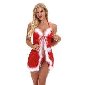 Mulheres Red Chemise Natal Pijamas Festive uma malha Lace férias e Babydoll Lingerie Com Floral fuzzy guarnição branca Backless Panty G Xptw