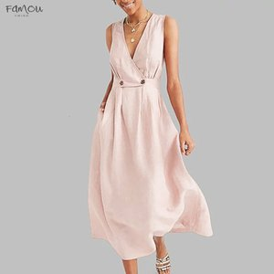 Women Dress Summer Sexy V Neck Pure Color Sleeveless Party Long Dress Easy Polyester Sandy Sundress Elegant Maxi Dress Vestidos Plus Size