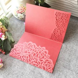 50PCS Creux Laser Cut Beauiful Fleurs Carte D'invitation De Mariage Avec Des Couleurs Papier Perle Pour Les Cartes D'invitation De Fiançailles Garden Party