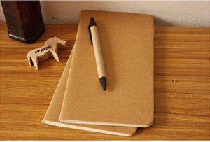 11X21cm 8,5 x 4,5 inç dizüstü sığır derisi kağıt defter boş not defteri kitap bağbozumu yumuşak lekelemek günlük notlar Kraft kapak dergi