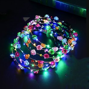 22 estilos intermitentes LED Bandas para el cabello cuerdas Glow Flower Crown Diademas Light Party Rave Floral Hair Garland Luminous Decorative Wreath M353