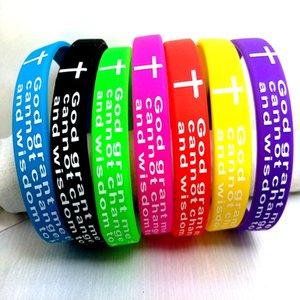 Atacado 25 Pcs serenidade Bíblia Oração Deus Cruz pulseiras cristãos pulseiras misturar cores presentes Banda Verso