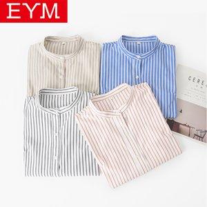EYM Marca 2019 Nova Mulheres Blusas listradas Casual simples Suporte longos da luva do Female Plus Size Blusa Tops Blusas Feminina 3XL