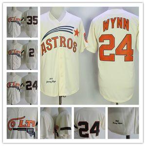 Homens Houston Colt 45s # 24 Jimmy Wynn Jerseys costurado creme # 35 Joe Morgan # 2 Nellie Fox Jersey S-3XL