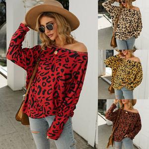 Femmes manches longues lèvres imprimé léopard dames shirt Casual Top Chemisier Sweat