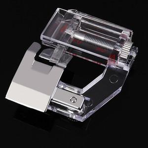 Al por mayor-Pack de 2 conveniente práctica Metal Edge Profesional prensatelas Hem prensatelas para uso doméstico Máquina de coser