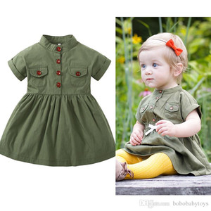kids clothes Army green A-line skirt sleeve girls' dress hot selling girls Kids 100% high quality Cotton Characteristic skirt