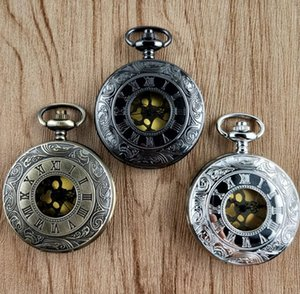 100pcs lot Wholesale Carved Flip Pocket Watch Big Size Pocket Watches Christmas Gift Watches