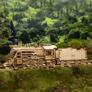 308pcs kreativer DIY bewegliche 3D Prime Steam Train Wooden Puzzle Game Assembly Spielzeug Geschenk für Kinder Jugendliche Erwachsene
