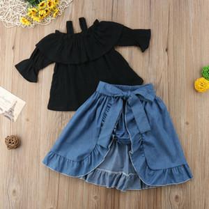 1-6Y Kids Baby Girl Летней Эпикировку плеча футболка Tops + Denim платье + шорты Baby набор