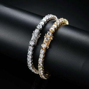braccialetti chain della catena dei diamanti dell'hip hop dei diamanti per il braccialetto di rame degli zirconi di lusso di modo 7 pollici 8 pollici catene d'argento dorate dei monili