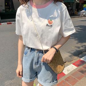 Merry Pretty Harajuku T Gömlek Kadın Tatlı Pamuk Kısa Kollu Beyaz Üst Şeftali Çilek T-Shirt Kız Kore Giysileri