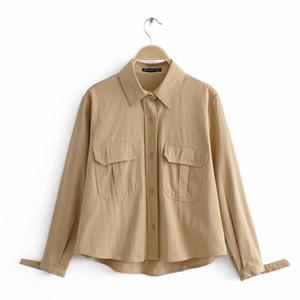 Yeni Gelen Jiajia 48-9899 Avrupa ve Amerikan moda stil Retro uzun kollu tulum gömlek
