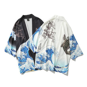 Mens Casual Print 3/4 Sleeve Shirts Open Stitch Loose Breathable Tops Male Fashion Thin Shirts 2 Colors