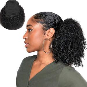 Ponytails 100% человеческие волосы афро кудрявых завитые бразильская перуанская малазийская индийский 100g в набор Наращивание волос Soft Kinky завитого клипа в Hairs