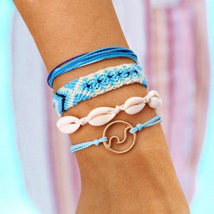 Women Fashion Braided Shell Charm Bracelets Combination 4Pcs Set Handwear Bohemian Beach Pendant Boho Bracelet Jewelry Gift Accessories 2020