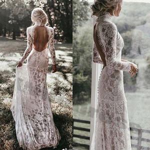 Robe de mariée en dentelle sexy robe de mariée grande taille Robe de mariée dos nu en dentelle Robe de mariée manches longues Illusion Corsage robe de mariée