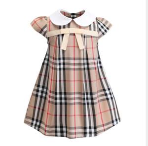 2019 nuove ragazze risvolto British Style maniche corte in cotone Plaid Dress Birthday Girl partito Il vestito della prima comunione formale (902)
