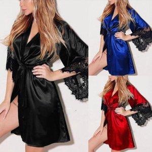 2020 neue reizvolle Pyjamas reizvolle Wäsche-Frauen plus-size Anzug Transparent Sexy Spitze Pyjama Bademantel Nachtclub Perspective Uniformen