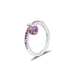 kiraz kristal yüzük gümüş moda Avrupa Pandora yüzük kolye kolye takı 54cm ile 925 ayar gümüş çiçek tomurcuğu gümüş yüzük
