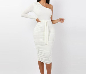 Las mujeres de coctel elegante moda blanco atractivo del partido Slim Fit vestidos de un hombro acanalada con cinturón Diseño Vestido a media pierna ajustado de