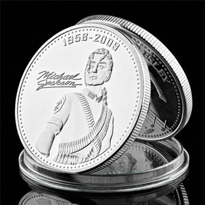 Moeda Comemorativa King Of populor Canção Michael Jackson uma onça de prata banhado a lembrança Coin Medalha Craft