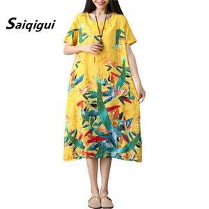 Мода Большой размер платья лета с коротким рукавом платья женщин вскользь Сыпучие печати хлопка Linen платье O-образным вырезом Vestidos Бесплатная доставка