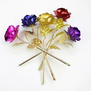 Romantik 24 K Kaplama Altın Gül Çiçek Altın Folyo Kaplama Yapay Düğün Festival Parti Sevgililer Günü Hediye